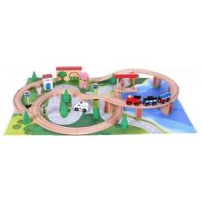 Деревянная Железная Дорога Eko Toys 50 Частей