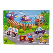 Medinė dėlionė Euro Vaikas Transportas 62944