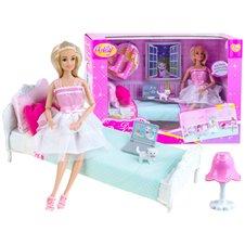 Zestaw SYPIALNIA dla LALKI łóżko lalka akce ZA2169