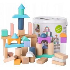Medinės kaladėlės Eko Žaislas 50 vnt Pastel