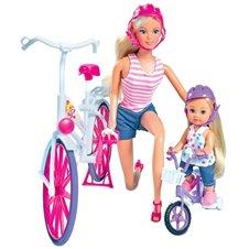 Lėlės SIMBA Steffi ir Evi Pasivažinėjimas dviračiais