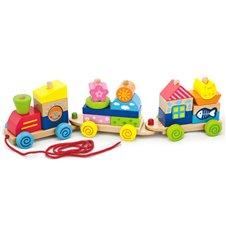 Traukiamas žaislas VIGA Spalvotas traukinys