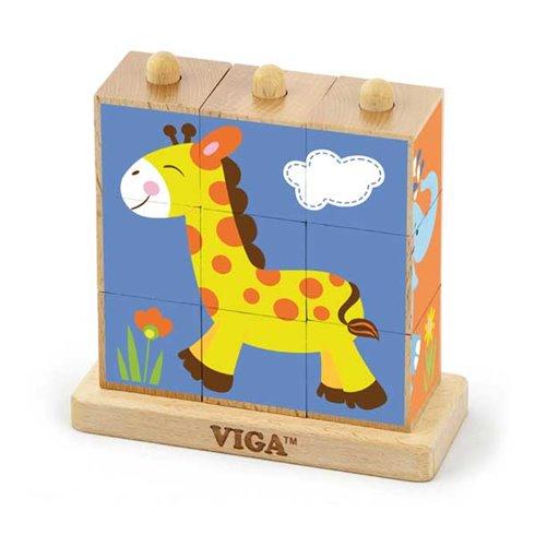 VIGA Kostki Logiczne Układanka Drewniana Zoo