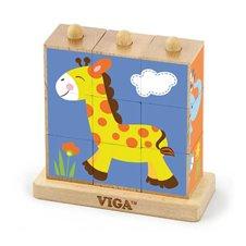 Medinės kaladėlės VIGA Zoo