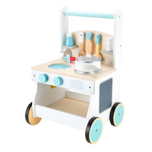 Medinė virtuvėlė su ratukais Eko Žaislas Žydra