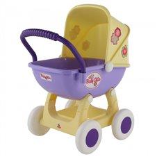 Didelis vežimėlis lėlėms 43cm Wader QT Arina geltonos ir violetinės spalvos