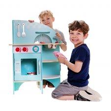 Vaikiška medinė virtuvėlė Classic World mėlynos spalvos