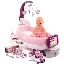 Vaikiškas elektroninis lėlės priėžiūros rinkinys Smoby Baby Nurse su priedais