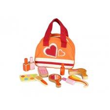Vaikiškas medinis kosmetikos rinkinys krepšyje