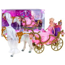Doll + carriage + walking horse 2099