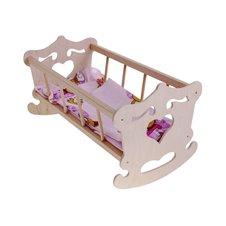 Wooden Cradle for 50cm doll +  bedding ZA2021