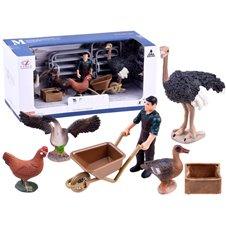 Set of animal figurines farm hen goose ZA2989