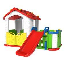 Domek Zjezdzalnia 3w1 Czerwony Dach