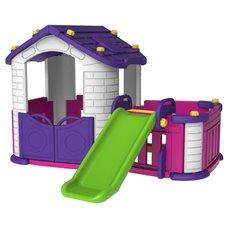 Violetinis žaidimų namelis 3in1 su čiužykla