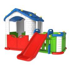 Mėlynas žaidimų namelis 3in1 su čiužykla