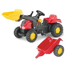 Vaikiškas minamas traktorius Rolly Toys rolly Kid su kaušu ir priekaba
