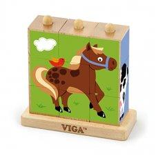 Medinė loginė dėlionė Viga Toys Ferma 9 dalys