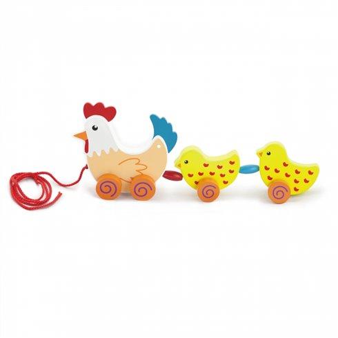 Medinis traukiamas žaislas Viga Vištytė su viščiukais 36 cm
