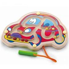 Medinis magnetinis žaidimas labirintas Viga Automobiliukas