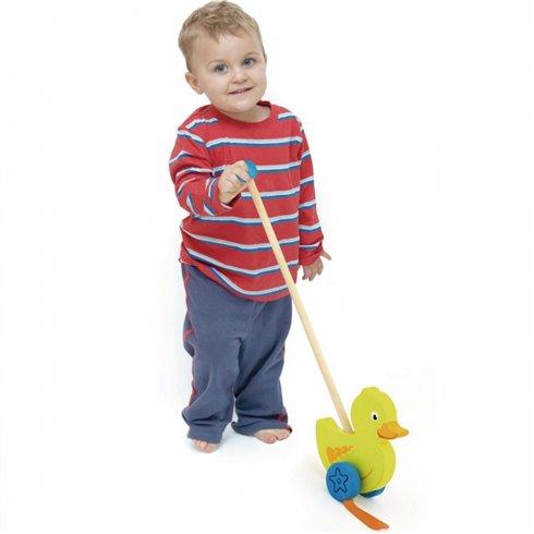 Medinis stumiamas žaislas Viga Toys Viščiukas