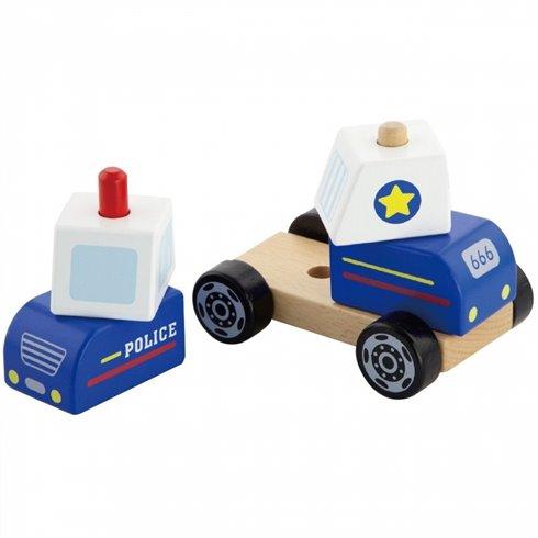 Medinės kaladėlės Viga Policijos automobilis