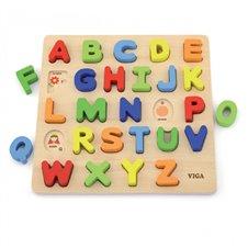 Medinė mokomoji lenta su raidėmis Viga Toys