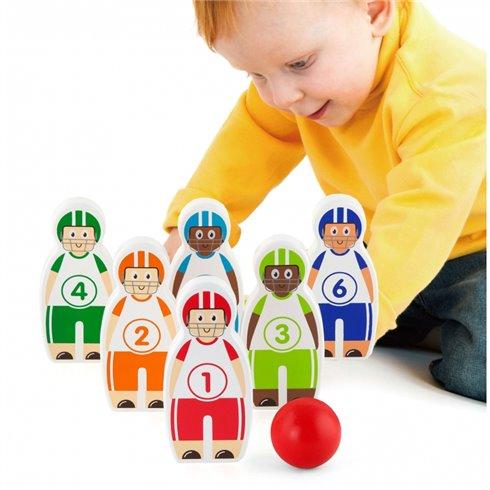 Vaikiški mediniai kėgliai Viga Toys Figūrėlės su kamuoliu