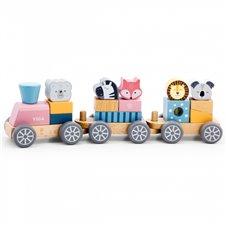Žaislinis medinis traukinukas su žvėrialiais Viga