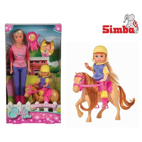 Lėlytė Steffi ir Evi  su arkliuku SIMBA