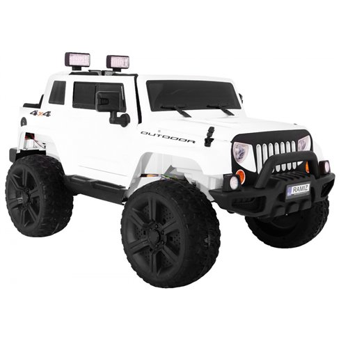 Elektromobilis RMZ Mighty Jeep 4x4 Baltas