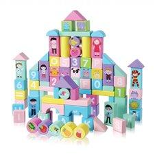 Medinės kaladėlės Eko Žaislas Miestas Pastel