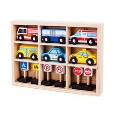 Medinių automobilių rinkinys Eko Žaislas
