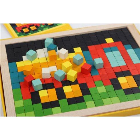 Medinė mozaika Cubika Pikseliai Automobiliai