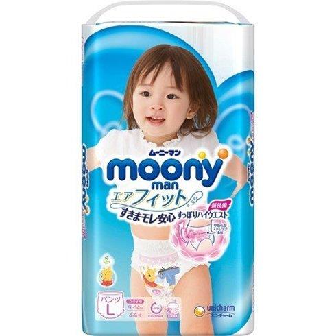 Japoniškos sauskelnės - kelnaitės Moony L 9-14 kg, mergaitėms, 44 vnt.