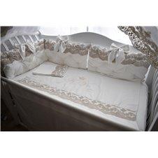 Apsaugėles su prabangiais nėriniais ir kaspinais aplink visą lovytę LUXURY
