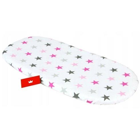 Paklodė BabyLux su guma vežimėliui/lopšiukui Rožinės žvaigždės