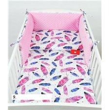 Patalynės komplektas BabyLux Minky 3 dalių Rožinės plunksnos