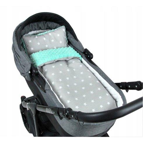 Patalynės komplektas vežimėliui arba lopšiukui BabyLux MINKY 2 dalių Mėtinės žvaigždės