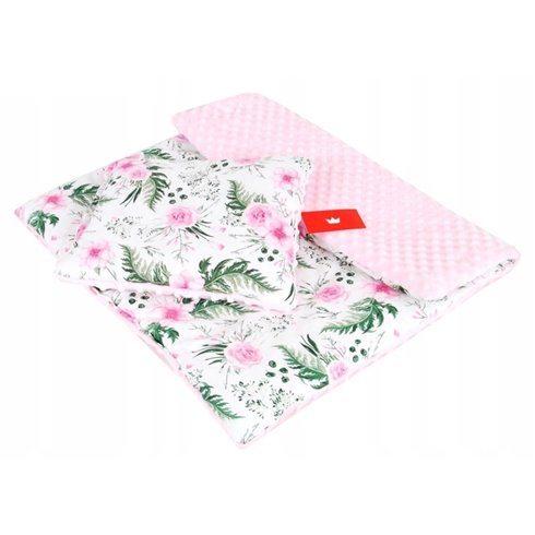 Patalynės komplektas vežimėliui arba lopšiukui BabyLux MINKY 2 dalių Rožinės gėlės