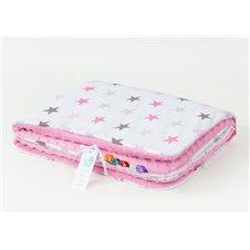 Pledukas dvipusis pašiltintas MAMO-TATO Minky 75x100 Rožinės žvaigždės rožinis