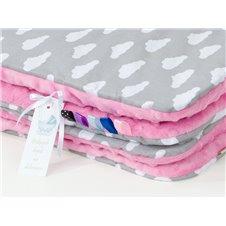 Pledukas ir pagalvėlė MAMO-TATO 75x100 Minky Debesėliai balti pilka / rožinė