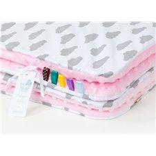 Pledukas ir pagalvėlė MAMO-TATO 75x100 Minky Debesėliai pilki balta / rožinė