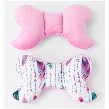 Antistresinė pagalvėlė MAMO-TATO Minky Plunksnos jūrinė / rožinė