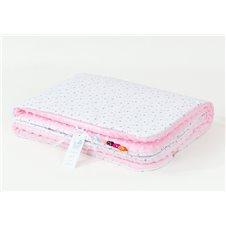 Pledukas dvipusis pašiltintas MAMO-TATO Mini pilkos žvaigždės rožinis