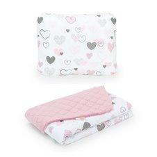 Pledukas ir pagalvėlė MAMO-TATO 75x100 Velvet PIK Širdelės / rožinė
