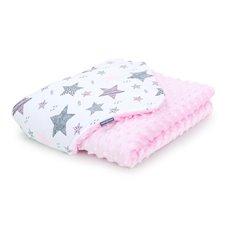 Pledukas dvipusis pašiltintas MAMO-TATO Minky Žvaigždės rožinės