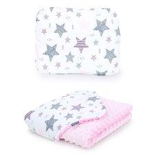 Pledukas ir pagalvėlė MAMO-TATO 75x100 Minky Starmix rožinė / rožinė