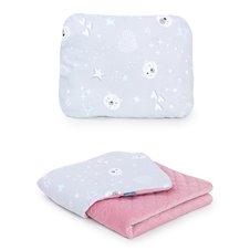 Pledukas ir pagalvėlė MAMO-TATO 75x100 Velvet PIK Meškiukai pilka / rožinė