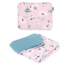 Pledukas ir pagalvėlė MAMO-TATO 75x100 PREMIUM Velvet PIK Gėlės rožinė /nepalo žalia