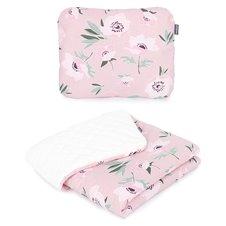 Pledukas ir pagalvėlė MAMO-TATO 75x100 PREMIUM Velvet PIK Gėlės rožinė / smėlinė